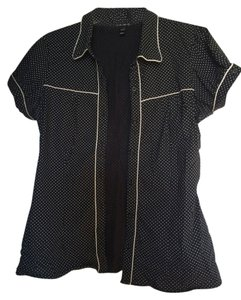 Fang Rockabilly Rocker Edgy Button Down Shirt Black with white polka dot and piping