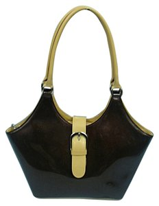 Beijo Patent Tote in Chocolate/Tan