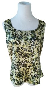 St. John Vintage Animal Print Top Green/White/Black