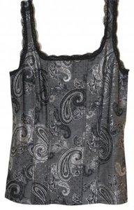 White House | Black Market Top Black, silver paisley