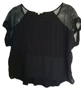 Haute Society Rocker Lace Trim Lace Mesh T Shirt black
