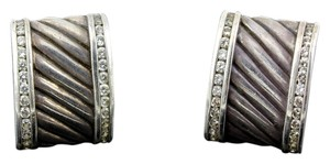 David Yurman * Sterling Silver Cigar Band with Diamonds earrings or cufflinks
