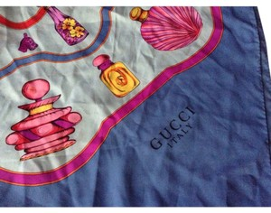 Gucci Vintage GUCCI silk scarf with perfume bottles design throughout and hand rolled edges