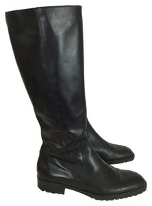 J.Crew Leather Knee High Chelsea Lug Sole Black Boots