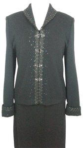St. John Evening Jeweled Buttons Paillettes Black Jacket