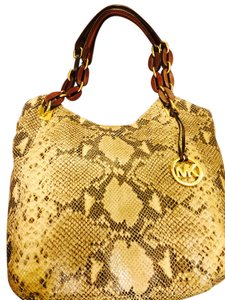 Michael Kors Satchel in Brown beige snake