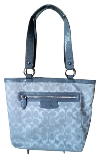 Coach Leather Signature Sateen Tote in gray