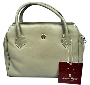 Etienne Aigner Leather Tags Satchel in Beige