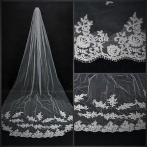 White Cathedral Veil With Appliques