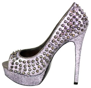 Steve Madden Spike Spikey Highheel High Heel Hot Peep Toe Awwsome P Glitter Bling Pewter Platforms