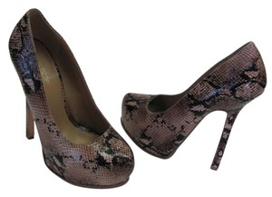 ShoeDazzle Size 8.50 M Reptile Design Very Good Condition Brown, Neutral, Black Platforms