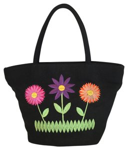 Saks Fifth Avenue Embroidered Cotton Twill Vintage Tote in Black