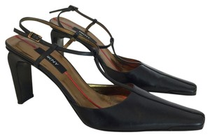 DKNY Leather T-strap Slingback Black Pumps