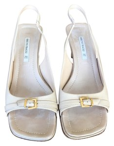 Bruno Magli Slingback Peep Toe Cream Pumps