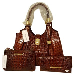 Brahmin Dust For Elisa Satchel in Pecan-Browns