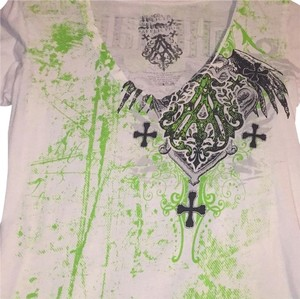 Archaic T Shirt White and lime green