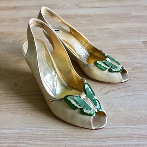 Fornarina Pin Up Wedding Party Prom Spring Gold Green Wedges