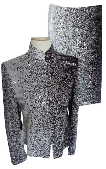 Item - Black and Silver Evening Cocktail Skirt Suit Size 8 (M)