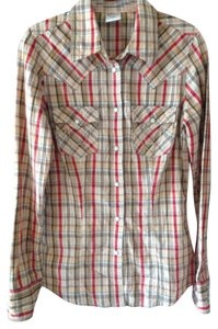 True Religion Snaps Button Down Shirt Checkered brown. Red, multi