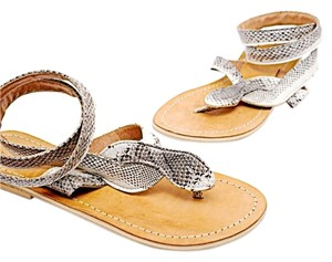 Yellow Box Thong Charcoal & White Snakeskin Sandals