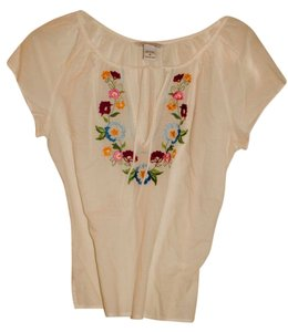 Abercrombie & Fitch Boho Bohemian Top White/Embroidered Flowers