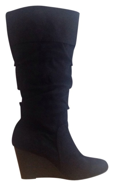 Item - Black Shireen Faux Suede Knee High Wedge Boots/Booties Size US 6 Regular (M, B)