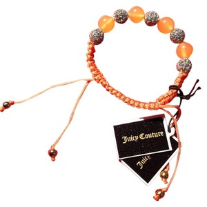 Juicy Couture Juicy Couture Friendship Bracelet Peach Woven Design Pave Crystal Beads YJRU7832 NWT $32