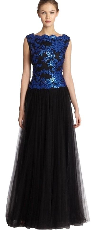 Tadashi Shoji Black and Sapphire Sequin Tulle Gown Evening Long ...