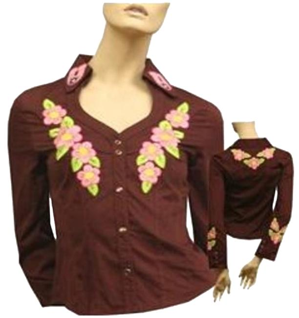 Item - Brown Unique Floral Embroidered Form-fitting Top @ Fashionista Style Boutique Blazer Size 6 (S)