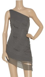 Robert Rodriguez Chiffon Asymmetric Studded Cut Dress