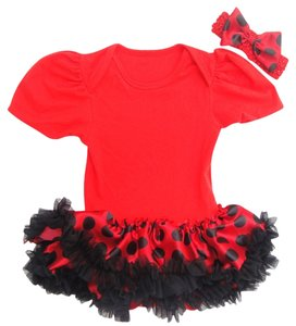 Toddler Bodysuit Skirt Red/ Black