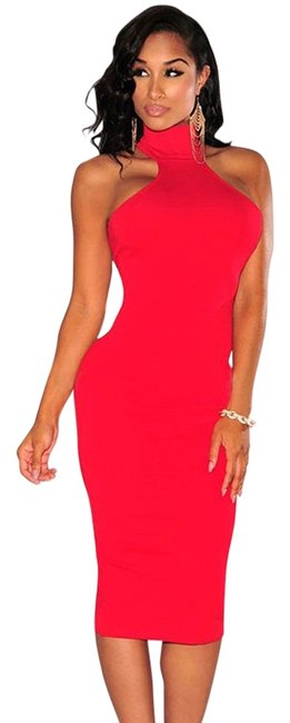 Item - White Or Red Bodycon Knee Length Short Casual Dress Size 6 (S)