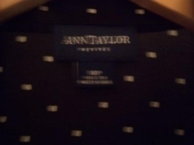 Ann Taylor Top Black with creme square detail