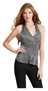 Guess Halter Halter Sleeveless Snake Print Crossover Peplum Small Black / Gray Halter Top