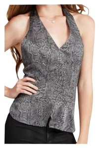 Guess Halter Ashy Multi Sleeveless Snake Print Crossover Peplum Black / Gray Halter Top
