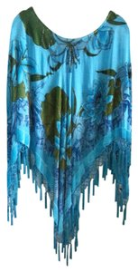 Cache Cache Fringed Burnout Velvet Turquoise Beaded SIlk and Rayon Poncho