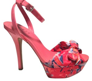 Guess High Heel Platform Pink Floral Platforms