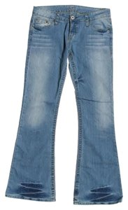 bebe Rhinestone Pockets Five-pocket Flare Leg Jeans-Medium Wash