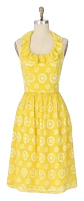 Item - Yellow Final Act Knee Length Cocktail Dress Size 12 (L)