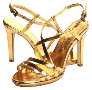 Daniblack Heels Sexy Shiny Strappy Gold Pumps