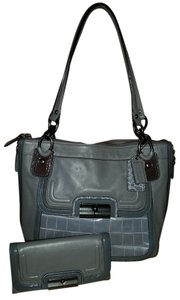 Coach Kristen Spectator Leather Tote in grays