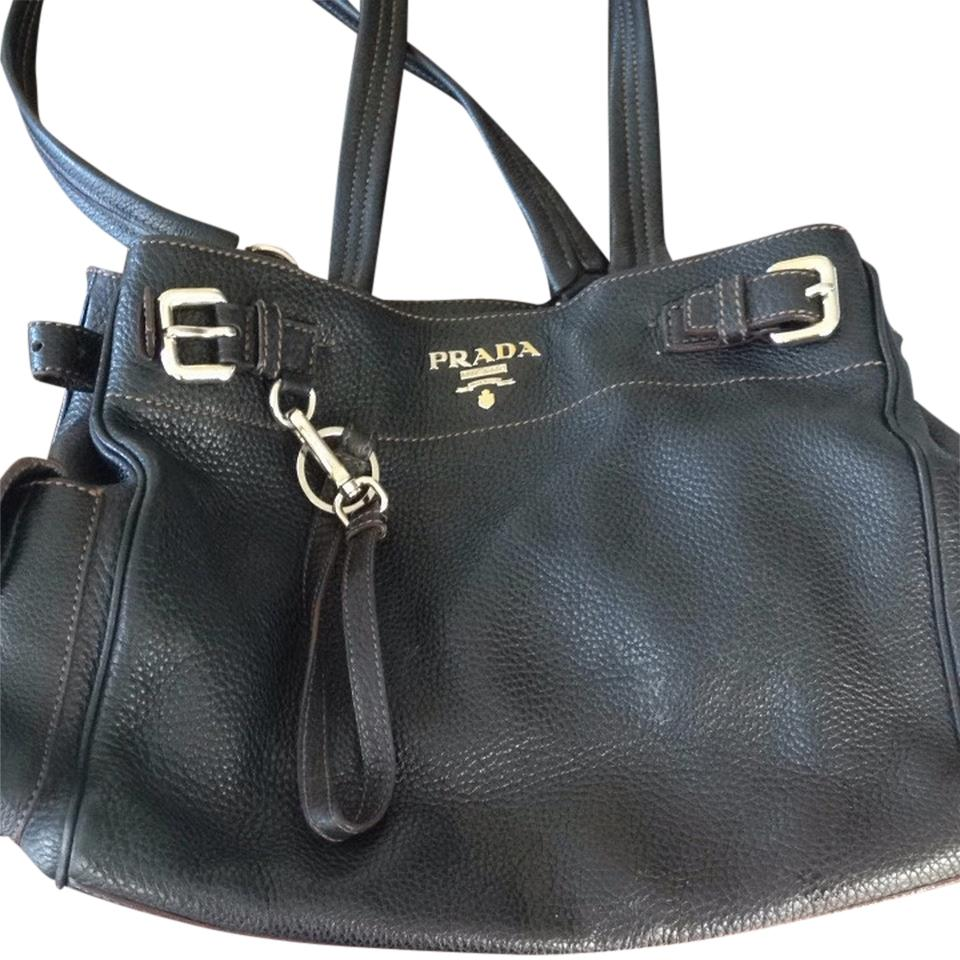53ea20cbd03cb Prada Vitello Daino Black Brown Stiching Leather Shoulder Bag - Tradesy