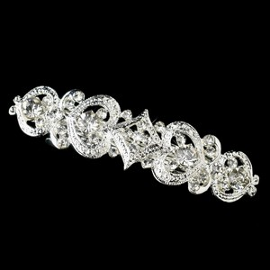 Silver Romantic Vintage Floral Rhinestone Barrette - Special Occasion Prom Party Hair Accessory