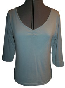 Abercrombie & Fitch 100% Cotton Light Blue 3/4 Sleeves Notched Hems V-neck T Shirt Blue Gray