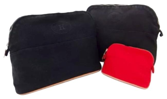 Item - Black and Red Logo Make-up Pouch Set Of Three Cosmetic Bag