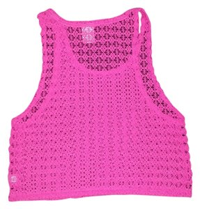 PINK Victoria Secret Knit Crochet Top Pink