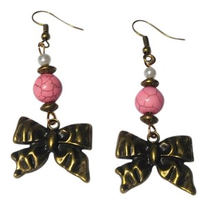 Other Antiqued Gold Pink Turquoise Gemstone Bow Earrings J2010
