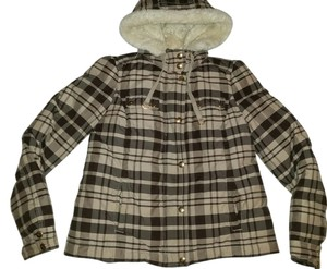 Juicy Couture Down Puff Feather Tan Jacket Plaid Crown Coat