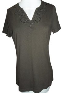 Croft & Barrow Knit Embroidered Embellished Medium T Shirt Brown