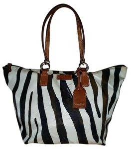 Dooney & Bourke Nylon Large Tulip Large Zebra Print Tote in Black and white and goldtones